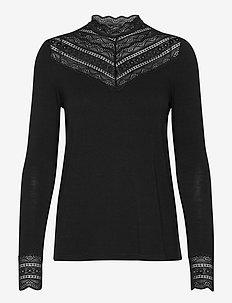 T-shirt ls - tops met lange mouwen - black