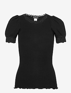 Organic t-shirt regular ss w/lace - t-shirts - black