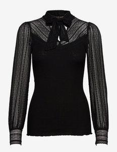 Silk t-shirt ls w/lace & bow - pikkade varrukatega pluusid - black