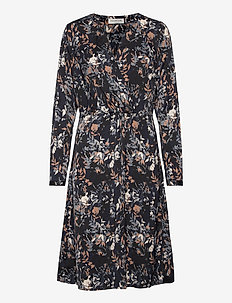 Dress ls - wrap dresses - blue flower field print
