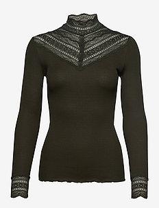 Silk t-shirt regular ls w/wide lace - BLACK GREEN