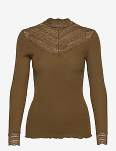 Silk t-shirt regular ls w/wide lace - hauts à manches longues - military olive