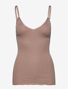 Silk top w/ elastic band reg, lengt - Ärmellose tops - nougat brown
