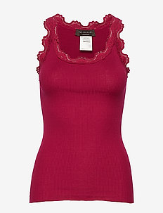 Silk top regular w/vintage lace - DARK BERRY