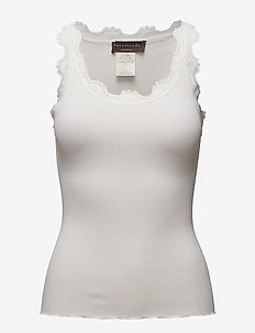 Silk top regular w/vintage lace - topy bez rękawów - new white