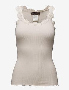 Silk top regular w/vintage lace - SOFT POWDER