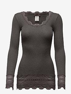 Silk t-shirt medium ls w/wide lace - topy z długimi rękawami - dark grey melange