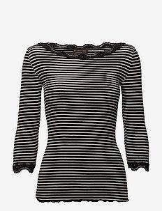 Silk t-shirt boat neck regular w/vi - BLACK IVORY STRIPE