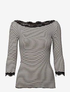 Silk t-shirt boat neck regular w/vi - topy z długimi rękawami - ivory black stripe