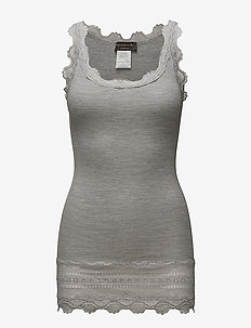 Silk top medium w/wide lace - topy bez rękawów - light grey melange