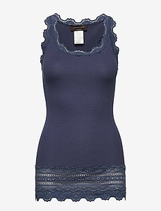 Silk top medium w/wide lace - Ärmellose tops - true navy