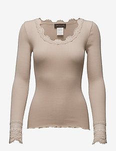 Silk t-shirt regular ls w/wide lace - hauts à manches longues - cacao