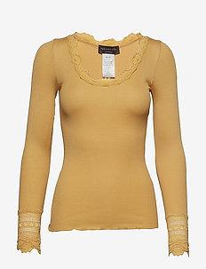 Silk t-shirt regular ls w/wide lace - FALL LEAF