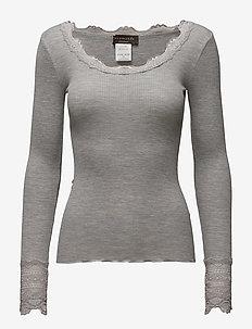 Silk t-shirt regular ls w/wide lace - långärmade toppar - light grey melange