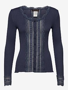 Silk cardigan regular ls w/wide lac - cardigans - true navy