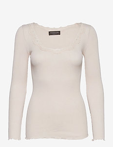 Silk t-shirt ls w/ lace - long-sleeved tops - soft powder