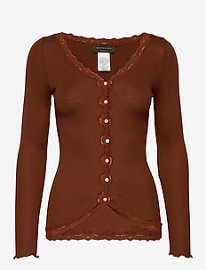 Silk cardigan regular ls w/rev vint - cardigans - amber brown