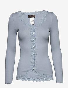Silk cardigan regular ls w/rev vint - neuletakit - blue fog