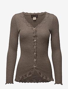 Silk cardigan regular ls w/rev vint - cardigans - brown melange