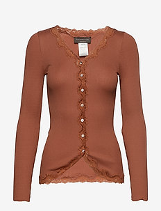 Silk cardigan regular ls w/rev vint - COPPER BROWN