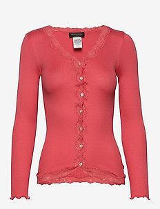 Silk cardigan regular ls w/rev vint - cardigans - dark coral