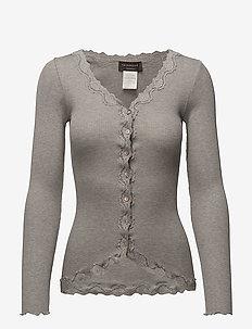 Silk cardigan regular ls w/rev vint - cardigans - light grey melange