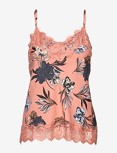 Strap top - sleeveless tops - terracotta spring blossom print