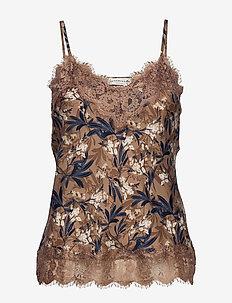 Strap top - sleeveless tops - nougat poetic leaf print