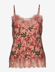 Strap top - topy bez rękawów - rose poetic leaf print