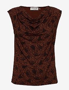 T-shirt ss - bluzki bez rękawów - amber brown rose print