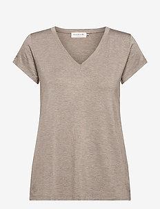 T-shirt ss - t-shirts - brown melange