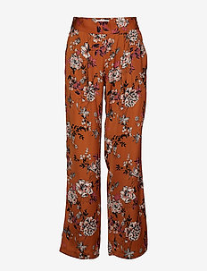 Trousers - bukser med brede ben - mocha blossom print
