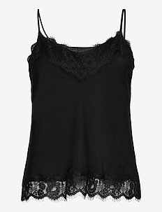 Recycled polyester strap top - sleeveless blouses - black