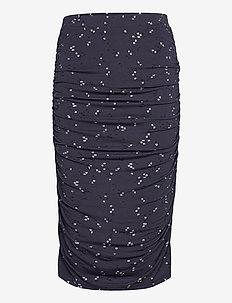 Skirt - midinederdele - blue square print