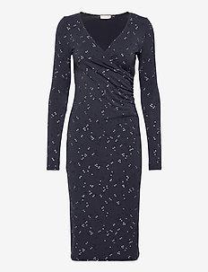 Dress ls - kietaisumekot - blue square print