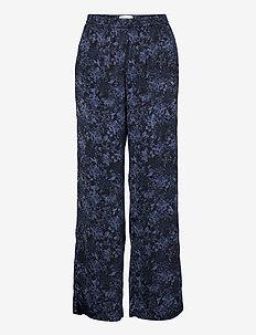 Recycle polyester trousers - vida byxor - blue flower garden print