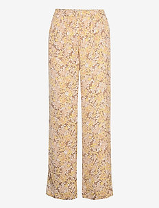 Recycle polyester trousers - wide leg trousers - sand flower garden print