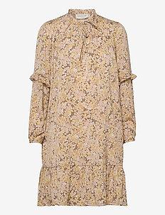 Recycle polyester dress ls - vardagsklänningar - sand flower garden print