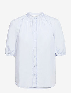 Organic cotton shirt ss - short-sleeved blouses - heather sky