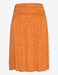 Skirt - midi skirts - orange leopard print