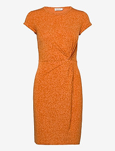 Dress ss - everyday dresses - orange leopard print