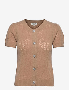 Wool & cashmere cardigan ss - strikkede toppe - camel melange