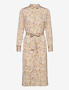 Recycle polyester dress ls - robes de jour - sand flower garden print
