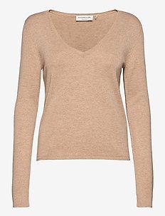Pullover ls - tröjor - beige melange