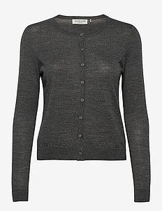 Merino cardigan ls - neuletakit - medium grey melange