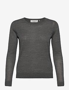 Merino pullover ls - swetry - medium grey melange