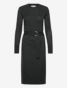 Dress ls - midi-kleider - dark grey melange