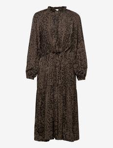 Recycled polyester dress ls - suvekleidid - smoaked oak snake print