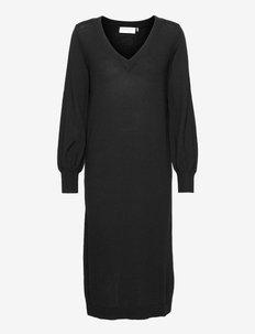 Wool dress ls - strikkjoler - black