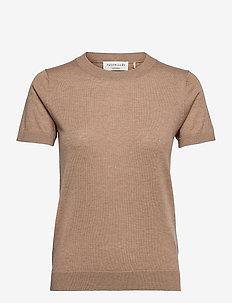 Pullover ss - strikkede toppe - camel melange
